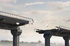 Destructed stone bridge. Mixed media . Mixed media royalty free stock photography