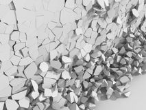 Destructed white cracked wall. Abstract demolition background Stock Image