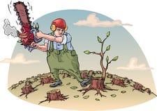 Destructing av skogen royaltyfri illustrationer