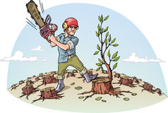 Destructing the forest. The woodcutter with the chainsaw is cutting the last tree in a forest Royalty Free Stock Photos