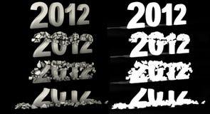 Destruction 2012 number text. Destruction 2012 numbert text whi alpha royalty free illustration