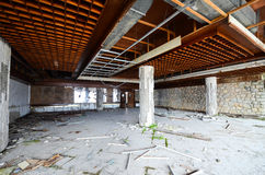 Destruction of an abandoned comercial building. Picture of a destruction of an abandoned comercial building Royalty Free Stock Photography