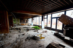 Destruction of an abandoned comercial building. Picture of a destruction of an abandoned comercial building Stock Image