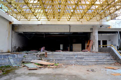 Destruction of an abandoned comercial building. Picture of a destruction of an abandoned comercial building Stock Images