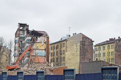 Destruction of Apartment Buildings. Destruction of Old Apartment Buildings royalty free stock photos