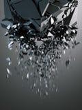 Destruction of black cube. 3d rendering. Destruction of black cube on dark background. 3d rendering Royalty Free Stock Image