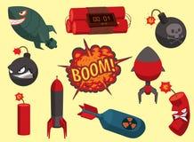 Destruction brûlante de militaires du feu d'explosion de détonation de boule de puissance d'attaque de grenade d'illustration de  Photo libre de droits