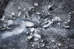 Destruction, breaking the old TV, a lot of debris and residues, for background Royalty Free Stock Image