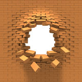 Destruction of a brick wall. (Hole in the brick wall Stock Images
