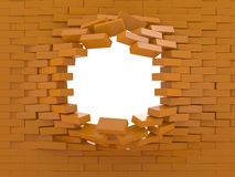 Destruction of a brick wall Royalty Free Stock Image
