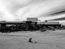 Destruction. Building torn apart stock photo