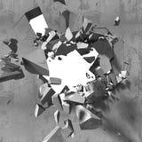 Destruction of concrete old wall with explosion demolition hole. 3d render illustration Stock Image