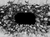 Destruction of concrete stone wall. Dark hole industrial backgro Royalty Free Stock Photo