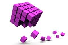 Destruction cubе. Scene of the destruction cube Stock Photo