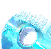 Destruction of Data. A partially shredded CD or compact disk Royalty Free Stock Images