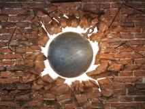 Destruction de la bille détruisant le mur de briques illustration de vecteur