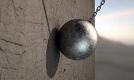 Destruction de la boule frappant le mur Images libres de droits