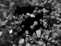 Destruction de mur en pierre en béton Backgro industriel de trou foncé Image libre de droits
