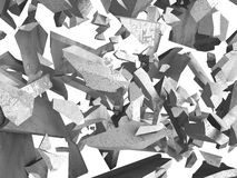 Destruction demolition concrete wall fragments of explosion. Abs Royalty Free Stock Photography