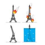 Destruction of Eiffel Tower in Paris.  Stock Photography