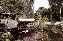 Destruction facilities. Old car and destruction facilities royalty free stock photos