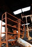 The destruction of fire 04. The debris of a warehouse factory building after a fire royalty free stock images