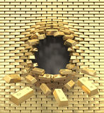Destruction of a golden wall Royalty Free Stock Images