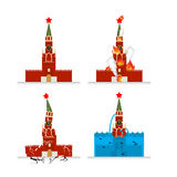 Destruction of Moscow Kremlin. Meteorite flies symbol of Russia. Royalty Free Stock Image