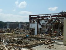 The effects of the tsunami in Japan. Destruction after the most powerful tsunami in 2011 royalty free stock image