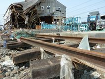 The effects of the tsunami in Japan. Royalty Free Stock Images