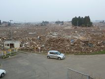 The effects of the tsunami in Japan. Royalty Free Stock Photography