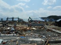The effects of the tsunami in Japan. Royalty Free Stock Image