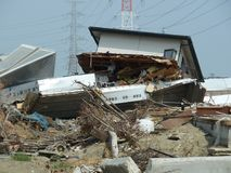The effects of the tsunami in Japan. Disaster occurred in Japan in 2011 Stock Photo