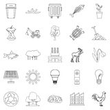 Destruction of nature icons set, outline style. Destruction of nature icons set. Outline set of 25 destruction of nature vector icons for web isolated on white Royalty Free Stock Photo