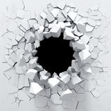 Destruction Of A White Wall Stock Photos