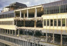 Destruction of an office building. Topic destruction, teardown of an office building stock photos