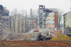 Destruction. Of Old Apartment Buildings stock photo