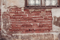 Destruction of the old brick wall Royalty Free Stock Photography
