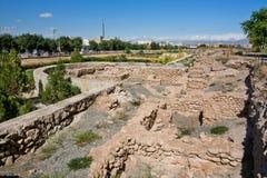 Destruction of old citadel wall around 14 century mausoleum Stock Photos