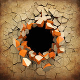 Destruction of a old grunge wall. Black hole in the cracked grunge wall Stock Image