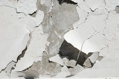 Destruction of plaster on concrete wall Royalty Free Stock Images