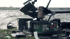 Destruction of the printer in nature. The concept of the bad effects of technology on nature.  stock video footage