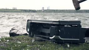 Destruction of the printer in nature. The concept of the bad effects of technology on nature.  stock footage