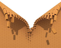 Destruction of a red brick wall. Red brick wall destruction in the zipper form Stock Images