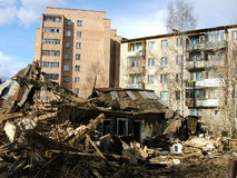 Destruction ruins of old houses. Destruction ruins of old small houses in town in Russia Stock Image