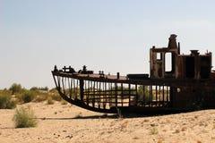 Destruction of the ships - Aral Sea, Uzbekistan Stock Images