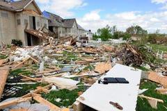 Destruction After Tornadoes Hit Saint Louis. SAINT LOUIS, MISSOURI - APRIL 26: Destroyed homes after tornadoes hit the Saint Louis area on Friday April 22, 2011 Royalty Free Stock Photos