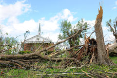 Destruction After Tornadoes Hit Saint Louis. SAINT LOUIS, MO – APRIL 22: Destruction left behind by tornadoes that ravaged the area. April 22, 2011 in Saint Royalty Free Stock Images