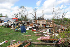 Destruction After Tornadoes Hit Saint Louis. SAINT LOUIS, MO – APRIL 22: Clean up after the destruction left behind by tornadoes that ravaged the area. April Royalty Free Stock Photo