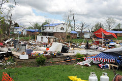 Destruction After Tornadoes Hit Saint Louis. SAINT LOUIS, MO – APRIL 22:Destruction left behind by tornadoes that ravaged the area. April 22, 2011 in Saint Royalty Free Stock Image